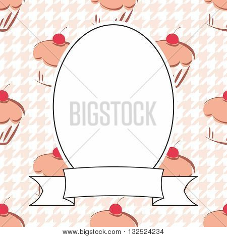 Vector frame on cupcake and houndstooth background