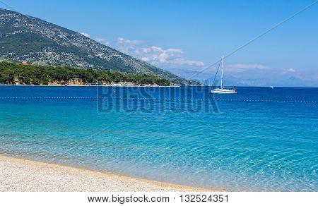 Brac Croatia - May 07 2016: yacht at Zlatni Rat beach Croatia