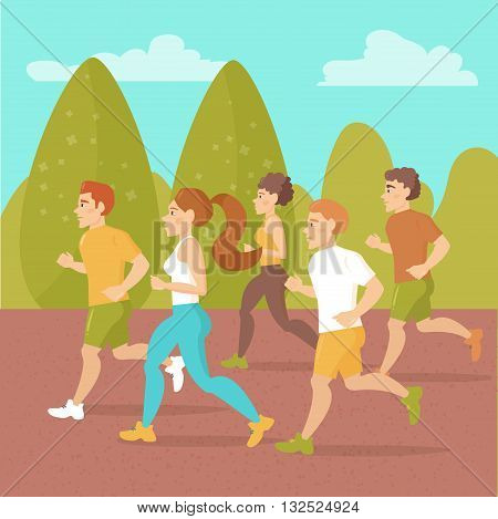 People running around in the park. Sports jogging. Vector isolated illustration. Cartoon character