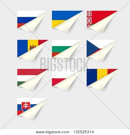 Flags of European countries. Set for Eastern Europe