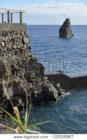 Viewpoint and clifftop rocks at Lido near Funchal in Madeira Portugal