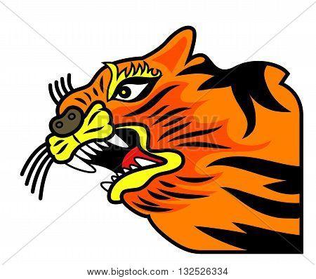 Vector illustration of a orange tiger grin