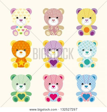 colorful baby bear with different pattern