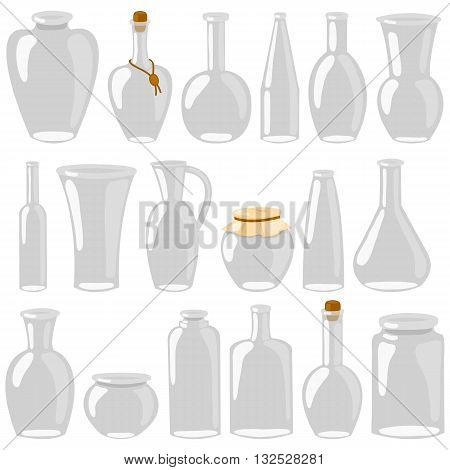 Empty glass jars and bottles. Cartoon decanters, bottles, cans, flasks. A set of glass isolated on a white background. Vector illustration.