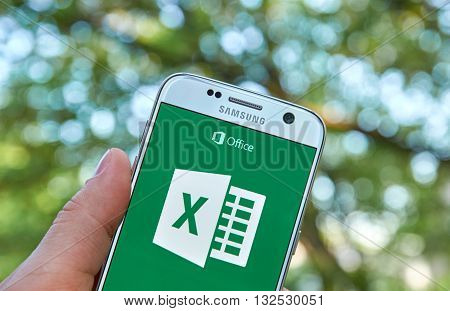 MONTREAL CANADA - MAY 23 2016 - Microsoft Office Excel application on Samsung S7.