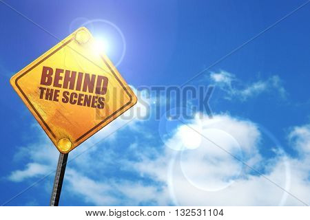 behind the scenes, 3D rendering, glowing yellow traffic sign