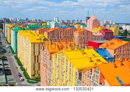 Panoramic aerial view of colored city street in Kyiv, Ukraine