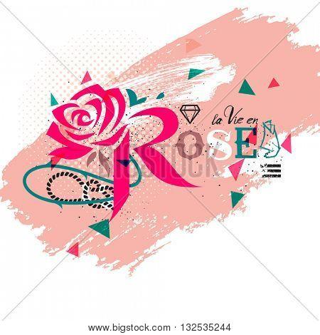 Rose, lettering