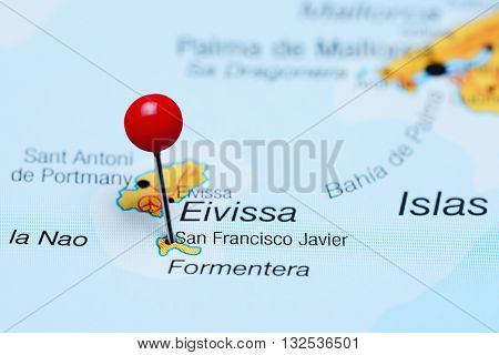 San Francisco Javier pinned on a map of Spain