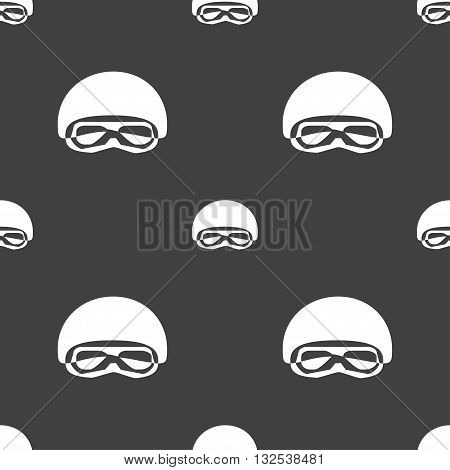 In A Ski Masks, Snowboard Ski Goggles, Diving Mask Icon Sign. Seamless Pattern On A Gray Background.