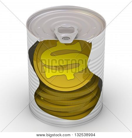 Coins in a tin. Gold coins with a U.S. dollar symbol inside a tin can. Cash reserve funds. Isolated. 3D Illustration