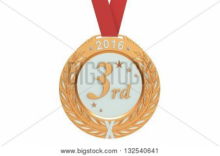 Bronze medal 2016 3D rendering isolated on white background