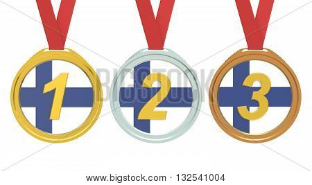 Gold Silver and Bronze medals with Finland flag 3D rendering