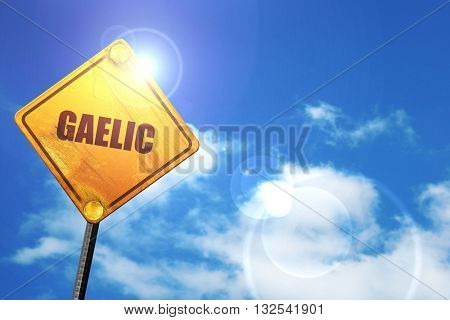 gaelic, 3D rendering, glowing yellow traffic sign