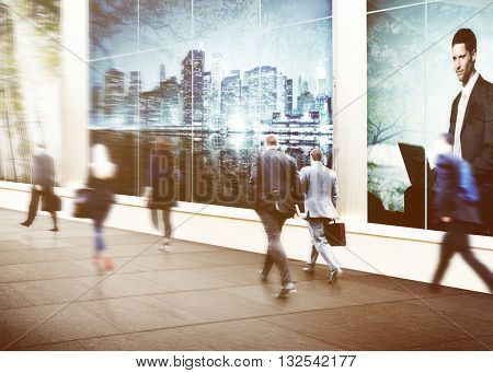 Business People Walking Commuter City Urban Concept