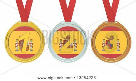 Gold Silver and Bronze medals with Spain flag 3D rendering