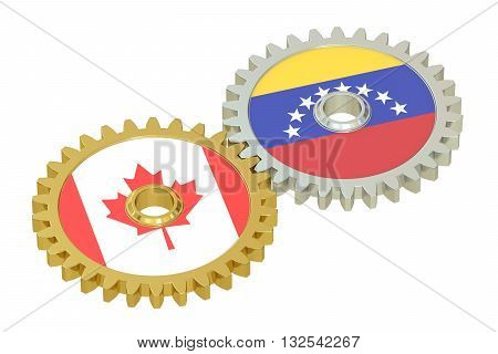 Venezuela and Canada flags on a gears 3D rendering isolated on white background