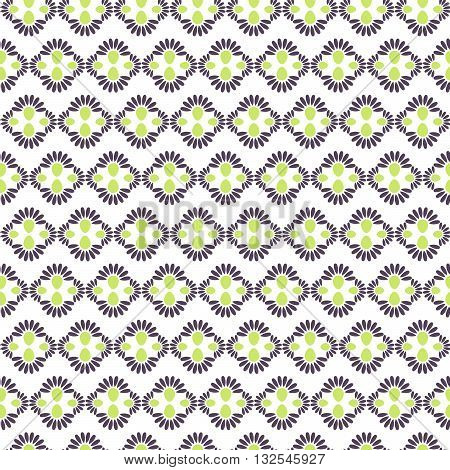 Abstract geometric flower seamless pattern. Green and violet vector rhomb floral background.