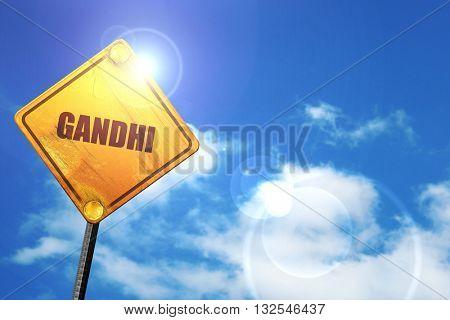 gandhi, 3D rendering, glowing yellow traffic sign