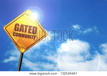 gated community, 3D rendering, glowing yellow traffic sign