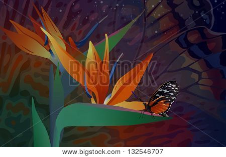wild flowers with a butterfly on the background of sky and fantasy pattern