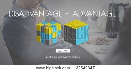 Disadvantage Advantage Comparison Decision Concept poster