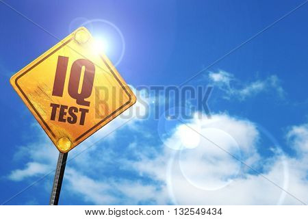 iq test, 3D rendering, glowing yellow traffic sign