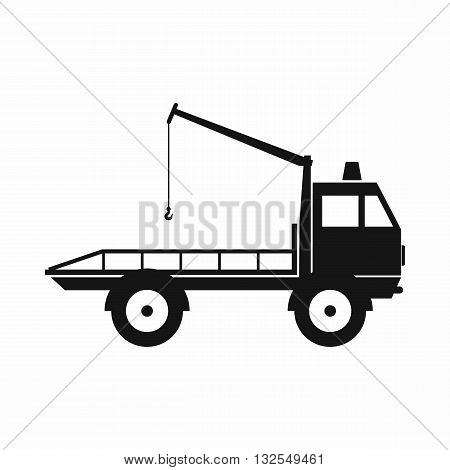 Car towing truck icon in simple style isolated on white background