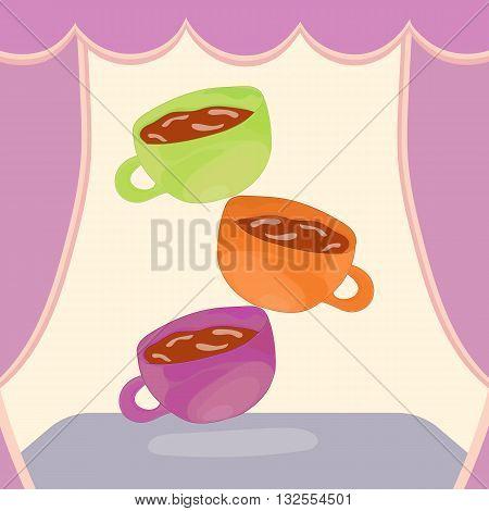 Wonderland Tea Party. Mad Tea Party Illustration. Hand drawn tea cup illustration. Tea cup pyramid. Vector illustration.