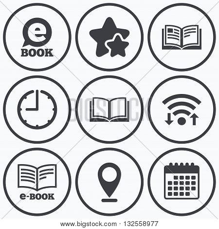 Clock, wifi and stars icons. Electronic book icons. E-Book symbols. Speech bubble sign. Calendar symbol.