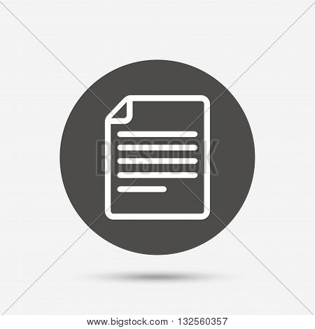 File document icon. Download doc button. Doc file symbol. Gray circle button with icon. Vector