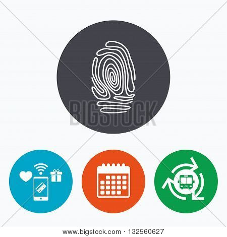 Fingerprint sign icon. Identification or authentication symbol. Mobile payments, calendar and wifi icons. Bus shuttle.