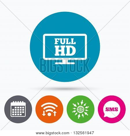 Wifi, Sms and calendar icons. Full hd widescreen tv sign icon. High-definition symbol. Go to web globe.