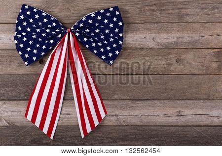 American flag emblem on a wooden background