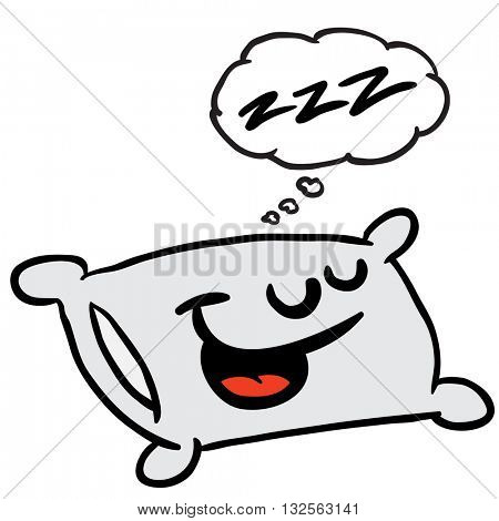 sleepy pillow with thought bubble cartoon