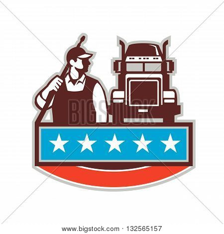 Illustration of a male pressure washing cleaner worker holding a water blaster on shoulder looking to the side with truck viewed from front set on isolated white background with stars done in retro style.