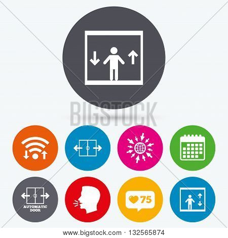 Wifi, like counter and calendar icons. Automatic door icons. Elevator symbols. Auto open. Person symbol with up and down arrows. Human talk, go to web.