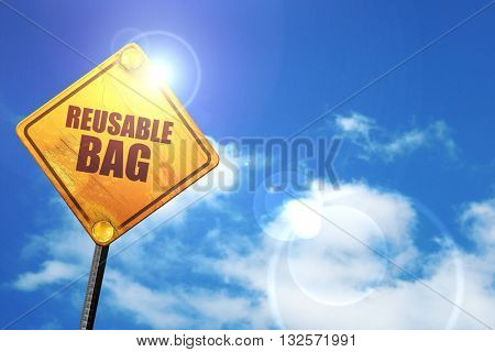 reusable bag, 3D rendering, glowing yellow traffic sign