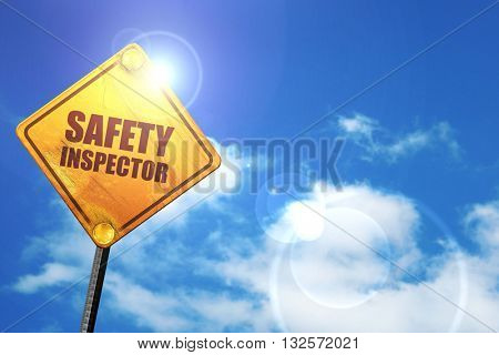 safety inspector, 3D rendering, glowing yellow traffic sign