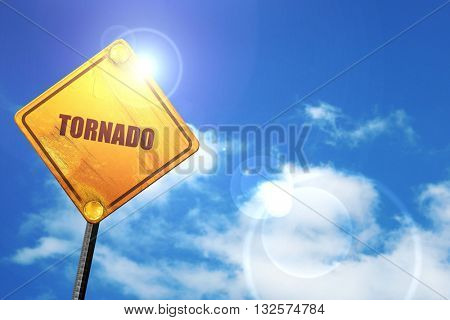 tornado, 3D rendering, glowing yellow traffic sign