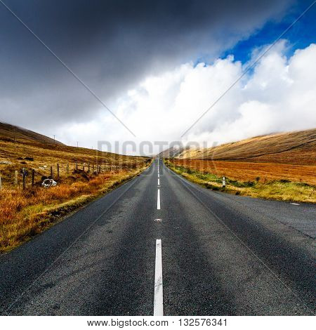 Road passing through Mourne Mountains, County Down, Northern Ireland