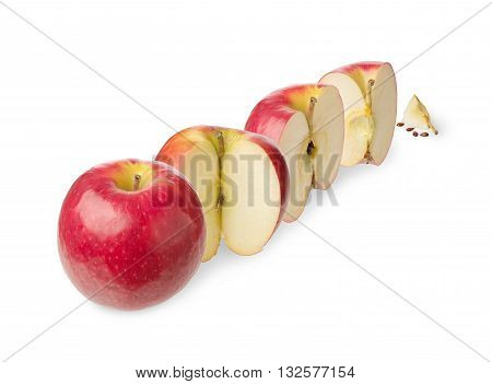Fresh whole apple cut in a halfthree-quarter quarter up to zero isolated on white background Concept of the decreasing reduction or subsidence and stages of a process