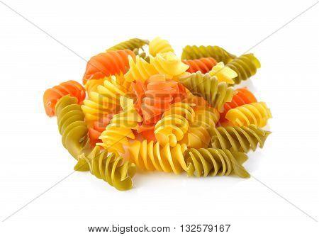 Large Vegeroni Rotini spilral pasta on white background
