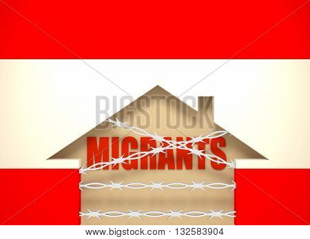 Image relative to migration to European Union. Barbed wire closed home icon textured by Austria flag. 3D rendering