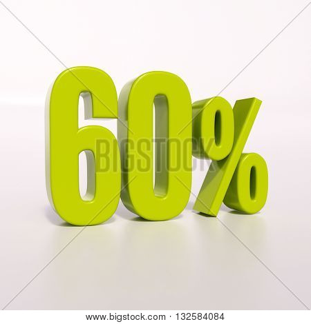 3d render: green 60 percent, percentage discount sign on white, 60%