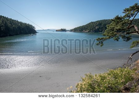 Beach at Deception Pass State Park on a beautiful day