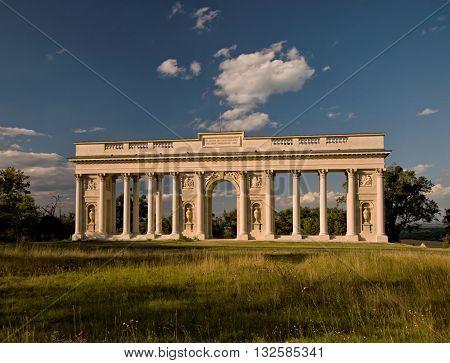 colonnade Reistna  is a romantic classicist gloriette,  Valtice, Moravia, Czech republic, UNESCO heritage site, Lednice Valtice cultural landscape area, summer shot