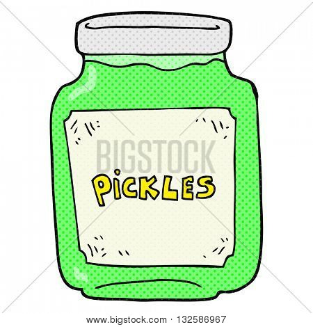 freehand drawn cartoon pickle jar