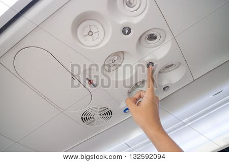 Airplane cabin interior useful botton stock photo