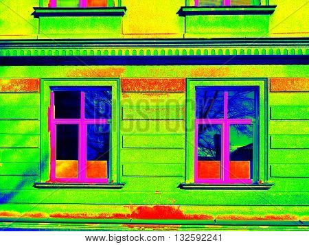 Thermography Scan. Traditional Construction Of Bricks House With Old Style Windows. Thermal Waste Ma